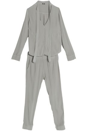 MONROW Pussy-bow cropped crepe de chine jumpsuit