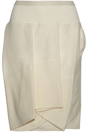 WOMAN LAYERED SILK AND WOOL-BLEND SHORTS OFF-WHITE