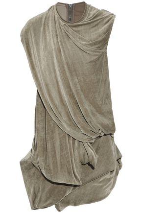RICK OWENS Bundle asymmetric cutout draped velvet top