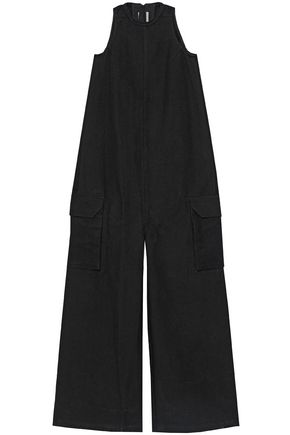 RICK OWENS Cotton and silk-blend fleece jumpsuit