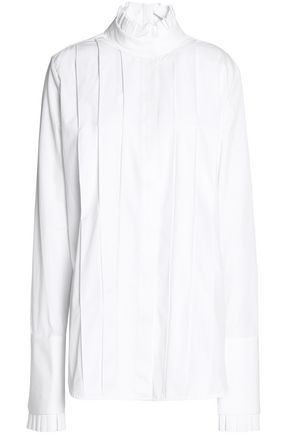 ELLERY Pleated cotton-poplin shirt