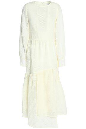 GOEN.J Asymmetric organza-jacquard midi dress