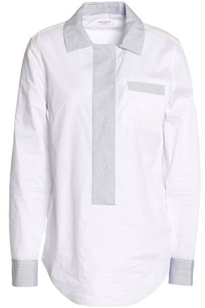 EQUIPMENT Stripe-paneled cotton-poplin shirt