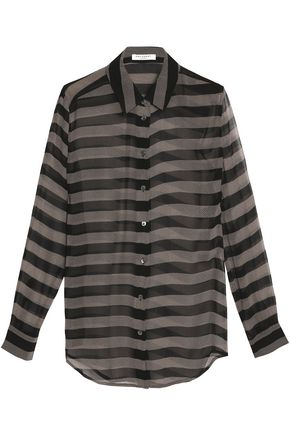 EQUIPMENT Striped silk-chiffon top