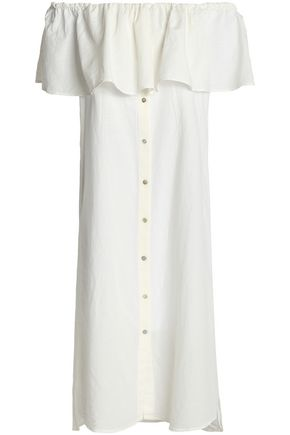 IRIS & INK Off-the-shoulder ruffled cotton and linen-blend dress