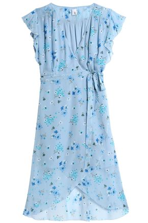 IRIS & INK Wrap-effect floral-print chiffon dress
