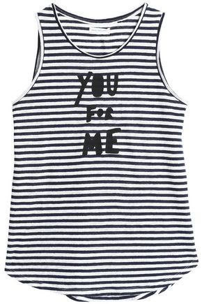 CHINTI AND PARKER Printed striped linen top