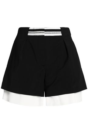 WOMAN LAYERED COTTON-BLEND AND CREPE DE CHINE SHORTS BLACK