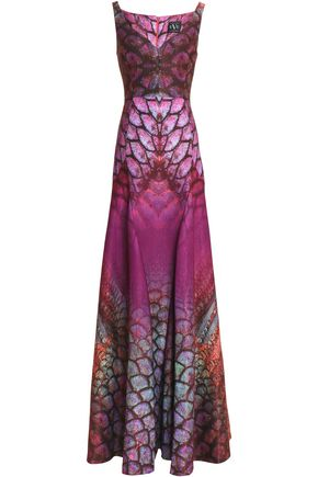BLACK HALO EVE by LAUREL BERMAN Printed glittered satin gown