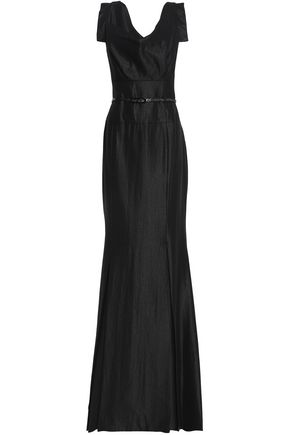 BLACK HALO EVE by LAUREL BERMAN Asymmetric belted crepe-satin gown