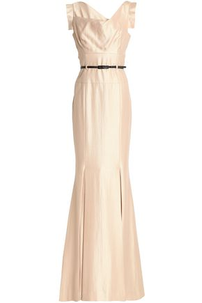 BLACK HALO Asymmetric belted crepe-satin gown