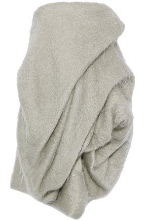 WOMAN STRAPLESS GATHERED MOHAIR-BLEND MINI DRESS STONE