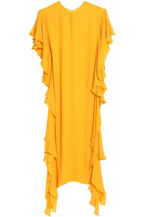 OSCAR DE LA RENTA Draped ruffled silk crepe de chine gown
