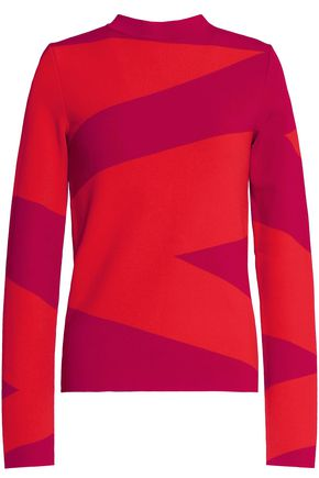 OSCAR DE LA RENTA Two-tone stretch-knit sweater