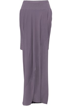 Woman Layered Rib-Paneled Crepe De Chine Shorts Lilac