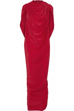 RICK OWENS Draped crepe de chine gown