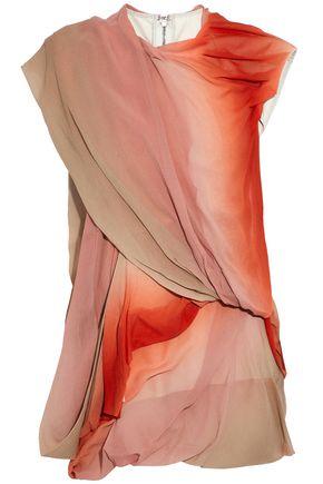 RICK OWENS Draped dégradé silk-georgette and cotton-blend canvas top