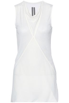 RICK OWENS Paneled jersey and crepe de chine top