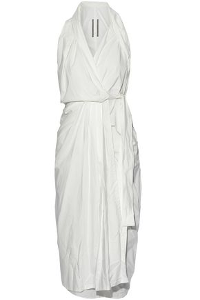 RICK OWENS Pleated cotton-poplin wrap midi dress