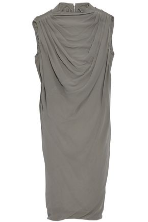 RICK OWENS Pleated silk crepe de chine dress