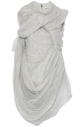 RICK OWENS Draped cotton-blend gauze top