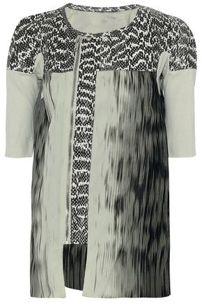 RICK OWENS Python-paneled cotton-jersey and printed silk-chiffon top
