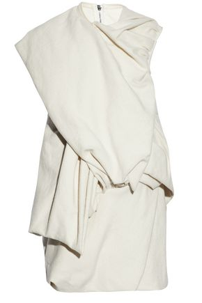 RICK OWENS Wrap-effect gathered cotton and silk-blend felt top