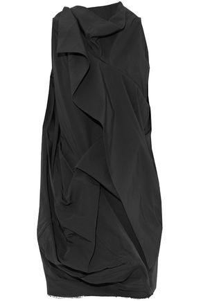 RICK OWENS Draped cotton and silk-blend faille top
