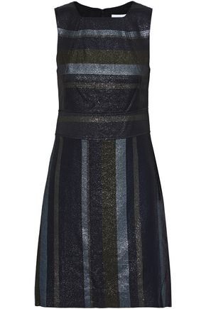 DEREK LAM 10 CROSBY Metallic striped crepe mini dress