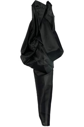 RICK OWENS Open-back draped silk-gazaar top