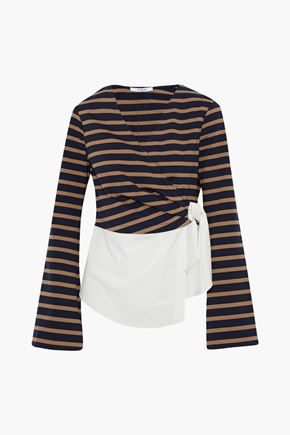 DEREK LAM 10 CROSBY Paneled striped jersey and cotton-poplin wrap top