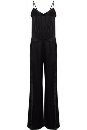 DEREK LAM 10 CROSBY Fringe-trimmed crepe de chine jumpsuit