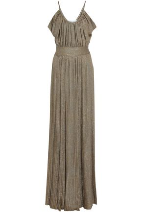 DEREK LAM 10 CROSBY Pleated metallic twill maxi dress