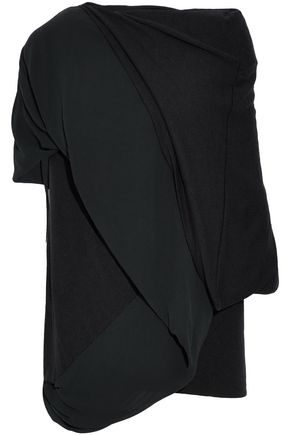 RICK OWENS Layered draped stretch-knit and silk-georgette top