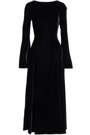 DEREK LAM 10 CROSBY Lace-up velvet midi dress