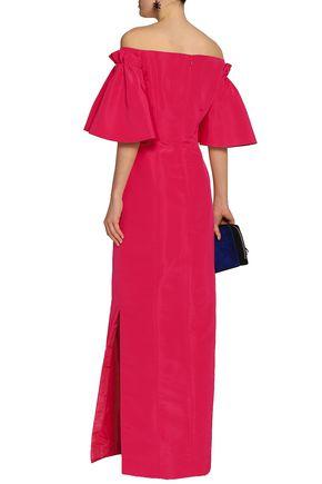 OSCAR DE LA RENTA Off-the-shoulder silk-faille gown