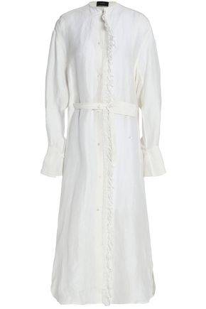 JOSEPH Belted fringe-trimmed linen and silk-blend midi dress