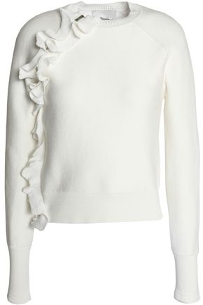 3.1 PHILLIP LIM Ruffle-trimmed stretch-cotton sweater