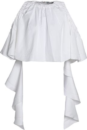 ELLERY Cold-shoulder ruffled cotton-gabardine top