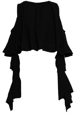ELLERY Cold-shoulder ruffled crepe top