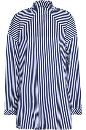 WOMAN STRIPED COTTON-POPLIN SHIRT NAVY