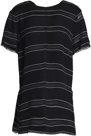 PROENZA SCHOULER Tie-back fringe-trimmed striped crepe top