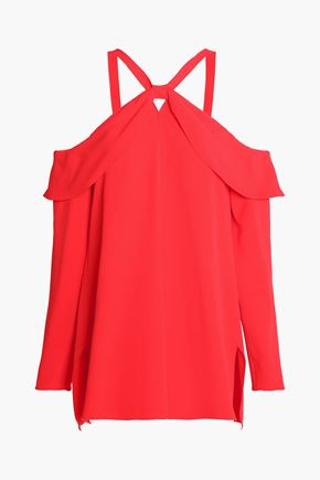 PROENZA SCHOULER Cold-shoulder layered crepe top