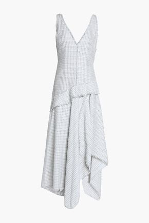 PROENZA SCHOULER Asymmetric fringe-trimmed tweed midi dress