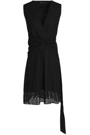 PROENZA SCHOULER Broderie anglaise-paneled cotton wrap dress
