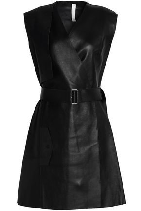 DION LEE Wrap-effect belted leather mini dress