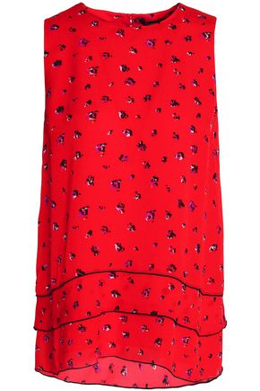 PROENZA SCHOULER Tiered floral-print silk-georgette top