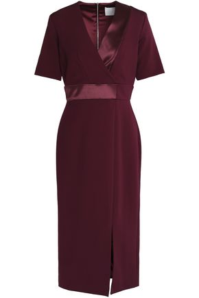 DION LEE Wrap-effect satin-trimmed crepe  dress