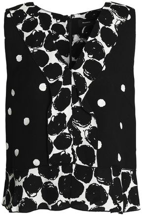PROENZA SCHOULER Ruffle-trimmed printed silk-crepe top