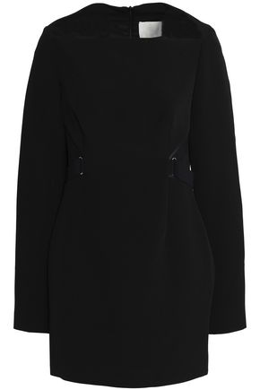 DION LEE Mesh-trimmed crepe mini dress